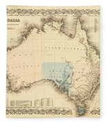 Antique Maps - Old Cartographic Maps - Antique Map Of Australia Fleece Blanket