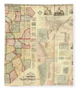 Antique Maps - Old Cartographic Maps - Antique Map Of Lawrence And Beaver Counties, 1860 Fleece Blanket