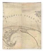 Antique Maps - Old Cartographic Maps - Antique Map Of Cape Cod, Massachusetts, 1836 Fleece Blanket