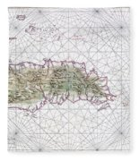 Antique Maps - Old Cartographic Maps - Antique Map Of Hispaniola - Caribbean Island Fleece Blanket