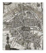 Antique Maps - Old Cartographic Maps - Antique Map Of Paris, France, 1643 Fleece Blanket