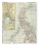 Antique Maps - Old Cartographic Maps - Antique Map Of Philippine Islands And Manila Bay, 1898 Fleece Blanket