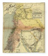 Antique Maps - Old Cartographic Maps - Antique Map Of Syria, 1884 Fleece Blanket