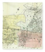 Antique Maps - Old Cartographic Maps - Antique Map Of The City Of Chester, England, 1870 Fleece Blanket