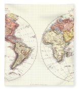 Antique Maps - Old Cartographic Maps - Antique Map Of The Eastern And Western Hemisphere, 1850 Fleece Blanket