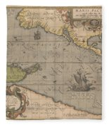 Antique Maps - Old Cartographic Maps - Antique Map Of The Pacific Ocean - Mar Del Zur, 1589 Fleece Blanket