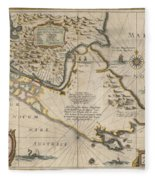 Antique Maps - Old Cartographic Maps - Antique Map Of The Strait Of Magellan, South America, 1635 Fleece Blanket