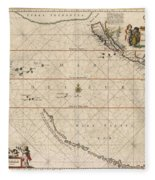 Antique Maps - Old Cartographic Maps - Antique Map Of The Strait Of Magellan, South America, 1650 Fleece Blanket