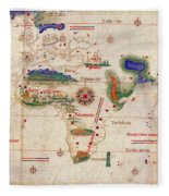 Antique Maps - Old Cartographic Maps - Antique Map Of The World, 1502 Fleece Blanket