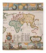 Antique Maps - Old Cartographic Maps - Antique Map Of The World Fleece Blanket