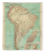 Antique Maps - Old Cartographic Maps - Antique Russian Map Of South America Fleece Blanket