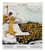 Antique Map Of The United States Of America - The Spirit Of Liberty - The Awakening, 1915 Fleece Blanket