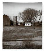 Antique Michigan Farm Fleece Blanket