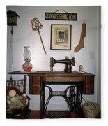 antique Singer sewing machine with treadle Fleece Blanket