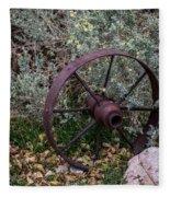 Antique Steel Wagon Wheel Fleece Blanket