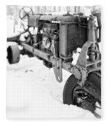 Antique Steel Wheel Tractor Black And White Fleece Blanket