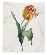 Antique Tulip Print Fleece Blanket