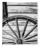 Antique Wagon Wheel In Black And White Fleece Blanket