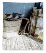 Antique Wooden Buckets Fleece Blanket