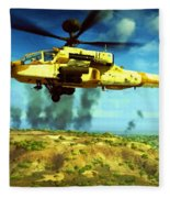 Apache Ai Assault - Operation Desert Wolves Fleece Blanket