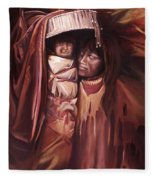 Apache Girl And Papoose Fleece Blanket