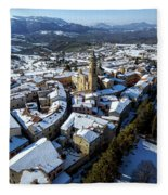 Apiro Italy In The Snow - Aerial Image. Fleece Blanket