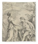 Apollo And The Cumaean Sibyl Fleece Blanket
