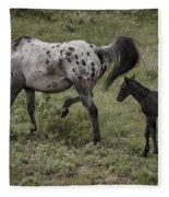 Appaloosa And Baby Fleece Blanket