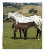 Appaloosa Mare And Foal Fleece Blanket