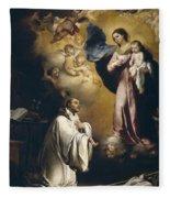 Apparition Of The Virgin To Saint Bernardo  Fleece Blanket