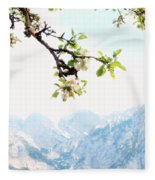 Apple Blossoms And Mountains Fleece Blanket