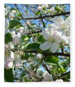 Apple Blossoms Art Prints 60 Spring Apple Tree Blossoms Blue Sky Landscape Fleece Blanket