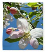 Apple Blossoms Art Prints Blue Sky Spring Baslee Troutman Fleece Blanket