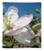 Apple Blossoms Art Prints Canvas Blue Sky Pink White Blossoms Fleece Blanket