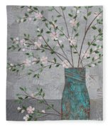 Apple Blossoms In Turquoise Vase Fleece Blanket