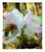 Apple Blossoms With Honey Bee Fleece Blanket