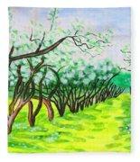 Apple Garden In Blossom Fleece Blanket