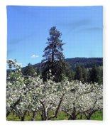 Apple Orchard In Bloom Fleece Blanket