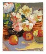 Apples And Peonies Fleece Blanket