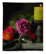 Apples Rose And Candlestick On Tray Stl712923 Fleece Blanket