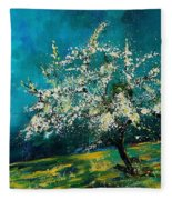 Appletree In Spring Fleece Blanket