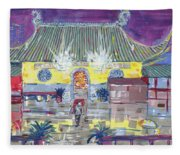 Approaching Dongwu Temple On Chinese New Years Eve Fleece Blanket