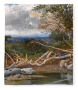 Approaching Storm In A Wooded Landscape Fleece Blanket
