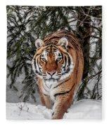 Approaching Tiger Fleece Blanket