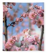 Apricot Tree Blossoms Fleece Blanket