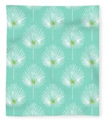 Aqua And White Palm Leaves- Art By Linda Woods Fleece Blanket