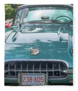 Aqua Blue 1959 Corvette  Fleece Blanket