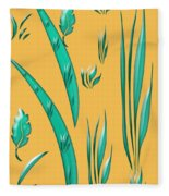 Aqua Design On Gold Fleece Blanket