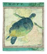 Aqua Maritime Sea Turtle Fleece Blanket