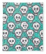 Aqua Skull Pattern Fleece Blanket